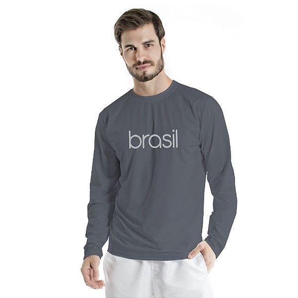 Blusa UV Adulto Brasil Cinza