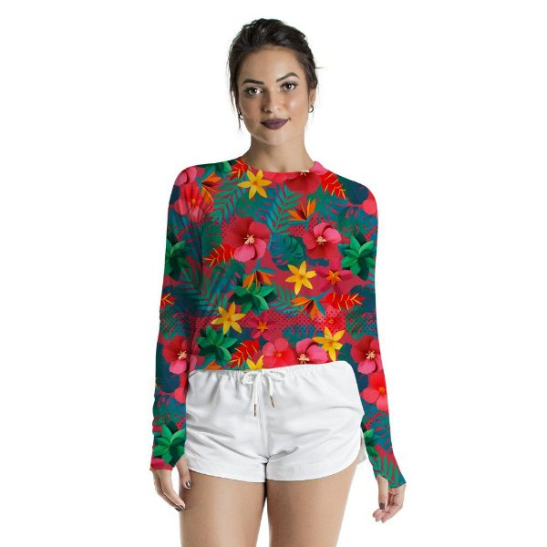 Blusa UV Feminino Adulto Floral Color