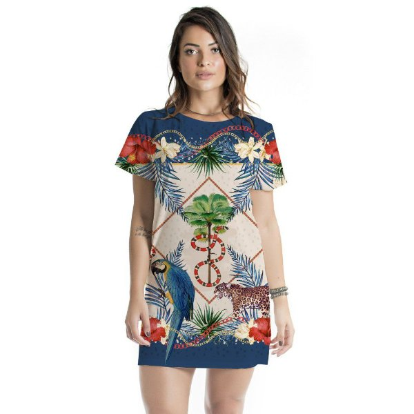 Vestido Curto Atena Flora e Fauna