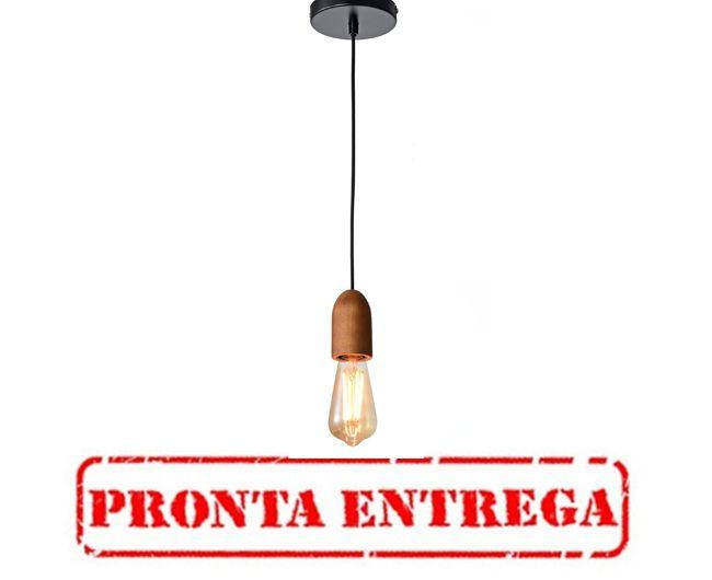 PRONTA ENTREGA / PENDENTE Newline Imports PD750 Estilo Antigo Filamento MADEIRA 1XE27 40W Ø4,5X9CM Sala de Jantar Quarto e Cozinha