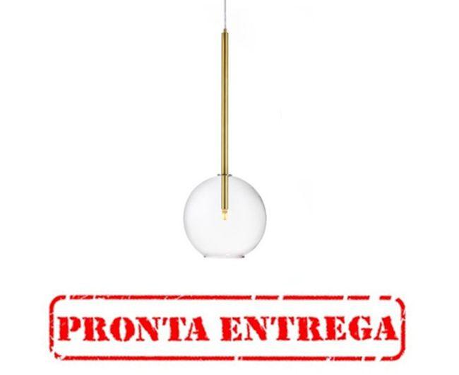 PRONTA ENTREGA / Pendente Old Artisan Bolha Vidro Pendurado Metal Dourado 80x25cm 1x G9 Halopin 110 220v Bivolt PD-5222 Mesa Jantar e Hall