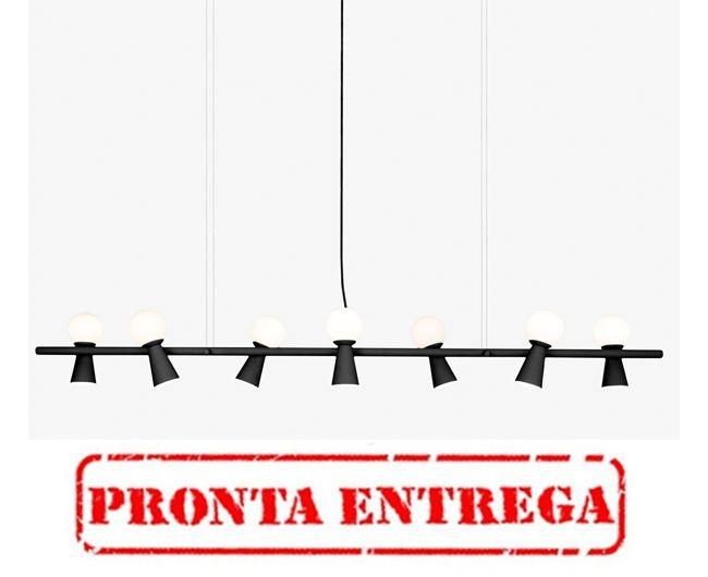 PRONTA ENTREGA / Pendente Golden Art Pivô 7 Contemporãneo Lamp. Preto