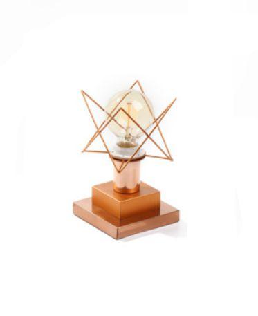 Abajur Old Artisan ABJ-5118 Bronze Contemporâneo Aramados Metal Inovador 22x12,5cm 1x E27 110 220v Bivolt Mesa Jantar e Sala Estar