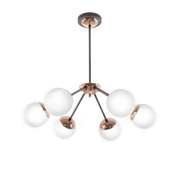Lustre Old Artisan Esferas Vidro Contemporâneo Pêndulo Metal Bronze 60x63 6x E27 110 220v Bivolt PD5215-B Sala Estar e Hall