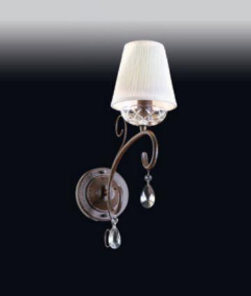 Arandela Old Artisan Cristal Metal Café Curvas Cupula Tecido 43x12cm 1x E14 110 220v Bivolt AR-4940A Entradas e Sala Estar