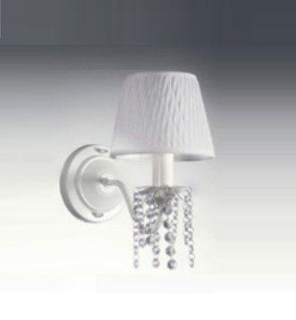 Arandela Old Artisan Curva Metal Branco Cristal Cupula Tecido 22x16cm 1x E27 110 220v Bivolt AR-136 Entradas e Quartos