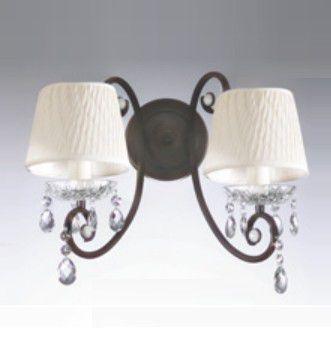 Arandela Old Artisan Dupla Cristal Cupula Tecido Metal Curvas 20x32cm 2x E27 110 220v Bivolt AR-137 Hall e Sala Estar
