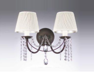 Arandela Old Artisan Dupla Cupula Tecido Metal Bronze Curvas 20x32cm 2x E27 110 220v Bivolt AR-138 Hall e Sala Estar