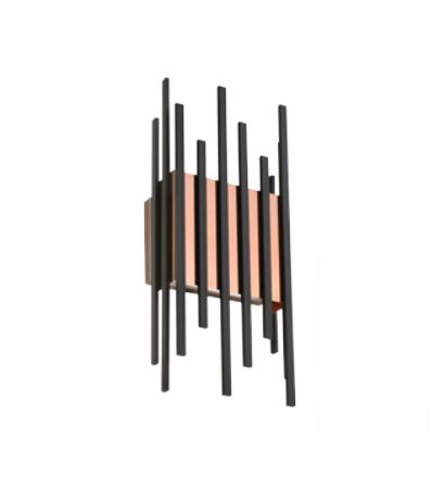 Arandela Old Artisan Hastes Linear Quadrado Metal Preto 45x10,5cm 4x G9 Halopin 110 220v Bivolt AR-5154 Entradas e Sala Estar