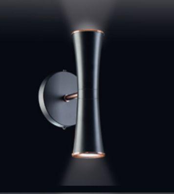 Arandela Old Artisan Tubo Curvas Linear Contemporâneo Metal Preto 27x12cm 2x GU10 Dicróica AR-4953 Sala Estar e Quartos