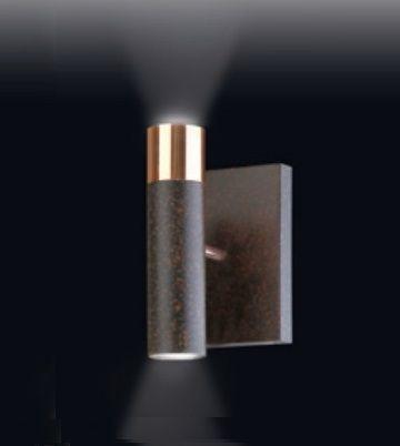 Arandela Old Artisan Tubo Reto Linear Metal Preto Cobre 28x12cm 2x GU10 Dicróica AR-4949 Sala Estar e Quartos