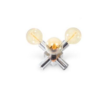Luminária de Mesa Old Artisan Triplo Foco Metal Cromo 16x20cm 3x Lâmpadas E27 110 220v Bivolt ABJ-5158 Sala Estar e Saguão