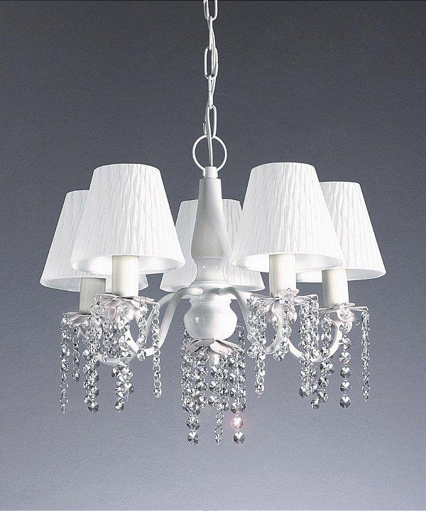 Lustre Old Artisan Candelabro Metal Branco Tecido Cristal 45x31cm 5x Lâmpadas E27 110 220v Bivolt PL113-5B Sala Estar e Saguão