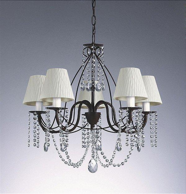Lustre Old Artisan Candelabro Metal Preto Cristal Tecido 60x60cm 5x Lâmpadas E27 110 220v Bivolt PL106-5 Sala Estar e Hall