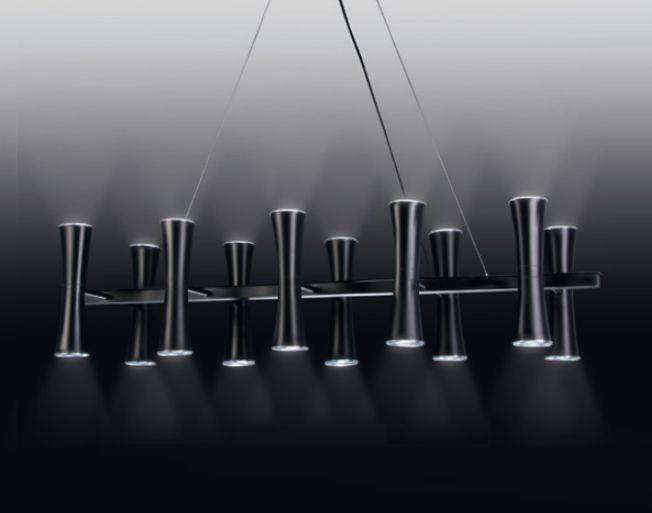 Pendente Old Artisan 10 Tubos Cônicos Contemporâneo Metal Preto 120x27cm 20x GU10 Dicróica PD4956-10 Escadas e Mesa Jantar
