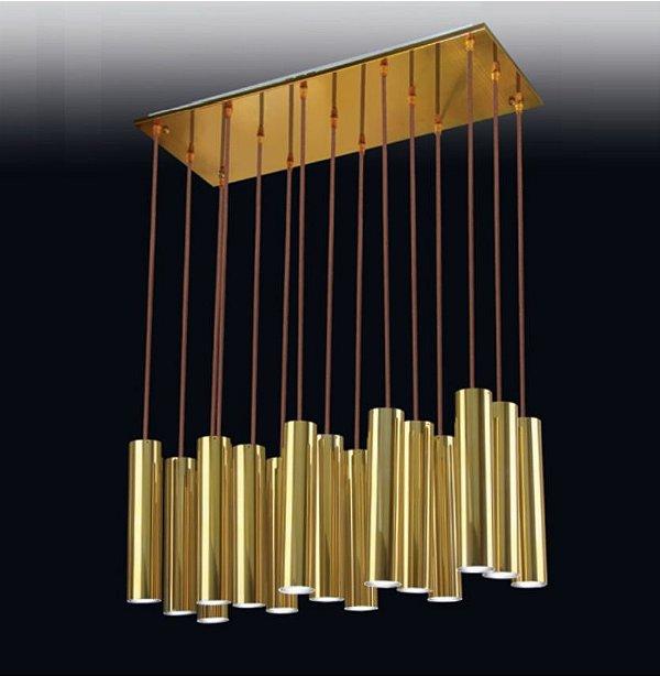 Pendente Old Artisan 15 Tubo Liso Contemporâneo Metal Dourado 140x30cm 15x GU10 Dicróica PD-4969A Hall e Mesa Jantar