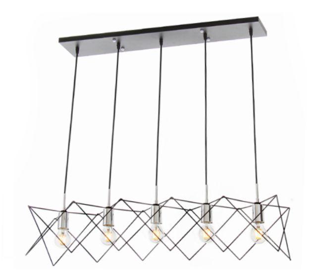 Pendente Old Artisan 5 Foco de Luz Contemporâneo Metal Cromo 27x97cm 5x E27 110 220v Bivolt PD5120-5 Escadas e Sala Estar