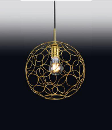 Pendente Old Artisan Bola Aramados Contemporâneo Pendurado Metal Dourado 31x27cm 1x E27 110 220v Bivolt PD-5015 Escadas e Sala Estar