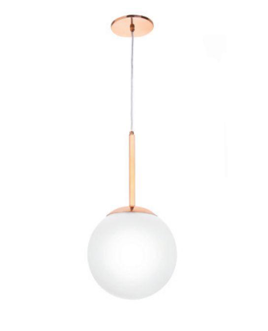 Pendente Old Artisan Bola de Vidro Branco Pendurado Metal Cobre 46x25cm 1x E27 110 220v Bivolt PD-5189 Escadas e Sala Estar