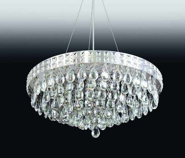 Pendente Old Artisan Cristal K9 Redondo Esfera Transparente 20x40cm 6x G9 Halopin 110 220v Bivolt PD4694-6 Sala Estar e Quartos