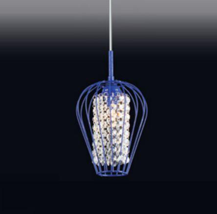 Pendente Old Artisan Cristal Pendurado Metal Azul Cônico 26x15cm 1x G9 Halopin 110 220v Bivolt PD-4726 Sala Estar e Hall