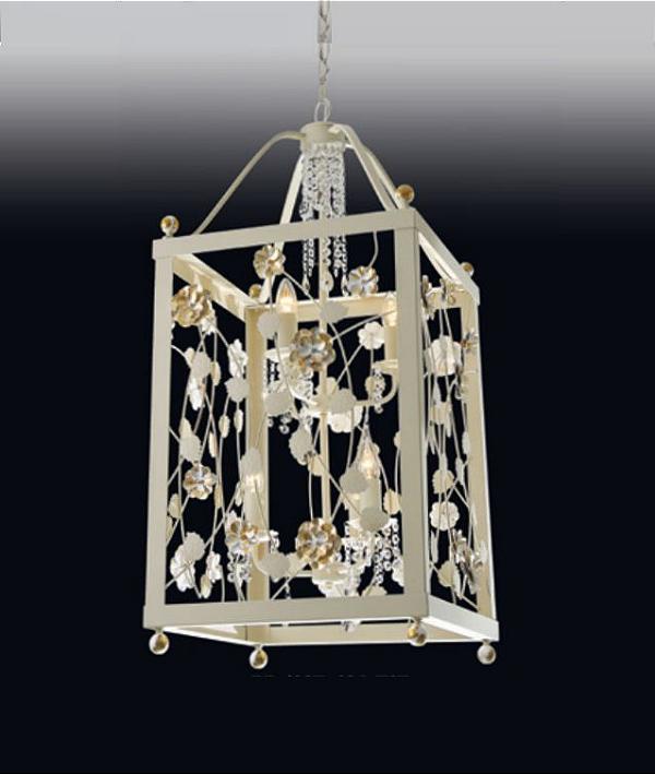 Pendente Old Artisan Rosas Retangular Metal Dourado Cristal 56x26cm 4x E14 110 220v Bivolt PD4937-PA Hall e Sala Estar