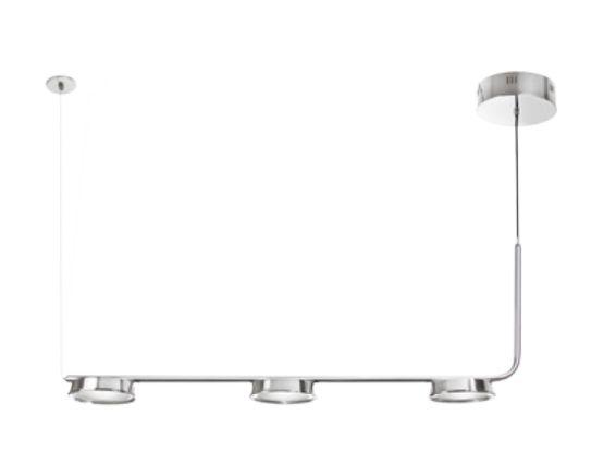 Pendente Old Artisan Triplo Foco Haste Horizontal Metal Cromo 46x100cm 3x LED 110 220v Bivolt PD-5191 Escadas e Mesa Jantar