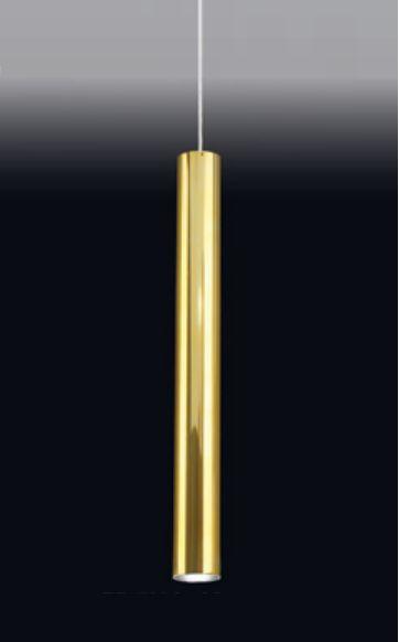 Pendente Old Artisan Tubo Redondo Esfera Pendurado Metal Dourado 59x6,4cm 1x GU10 Dicróica 110 220v Bivolt PD-5004A Escadas e Mesa Jantar