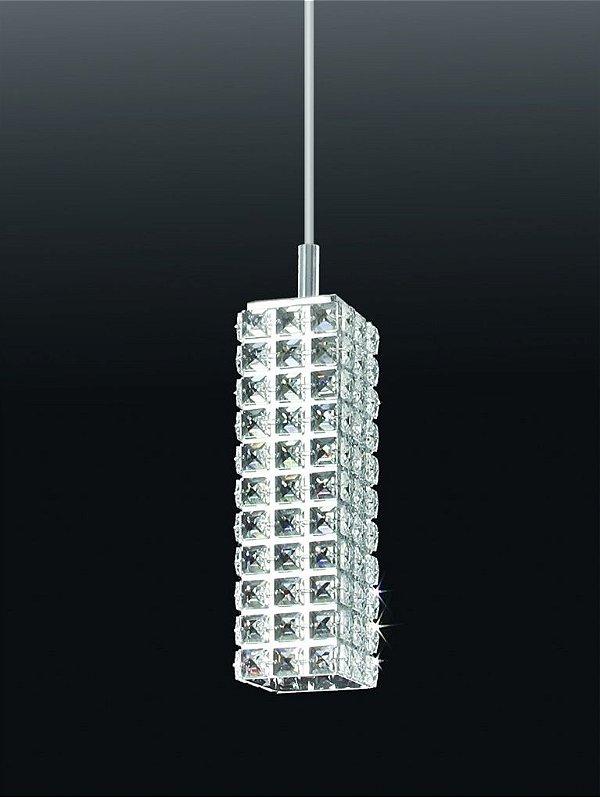 Pendente Tubular Cubico Vertical Metal Cristal 33x90cm Old Artisan 1x GU10 Dicróica Bivolt PD-4549 Mesas e Quartos