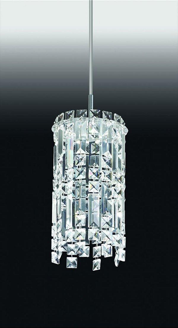 Pendente Old Artisan Tubular Pendurado Cristal Metal Cromo 27x15cm 1x G9 Halopin 110 220v Bivolt PD-4591 Sala Estar e Entradas