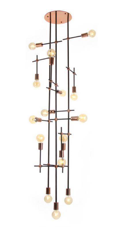 Plafon Old Artisan 15 Foco Articulado Linear Metal Cobre 193x64cm 15x E27 110 220v Bivolt PLF-5171 Sala Estar e Saguão