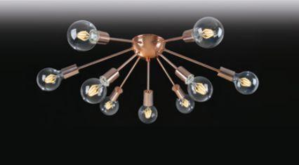 Plafon Old Artisan 9 Braços Esferas Vidro Contemporâneo Metal Bronze 20x69cm 9x E27 110 220v Bivolt PLF-4964 Sala Estar e Hall