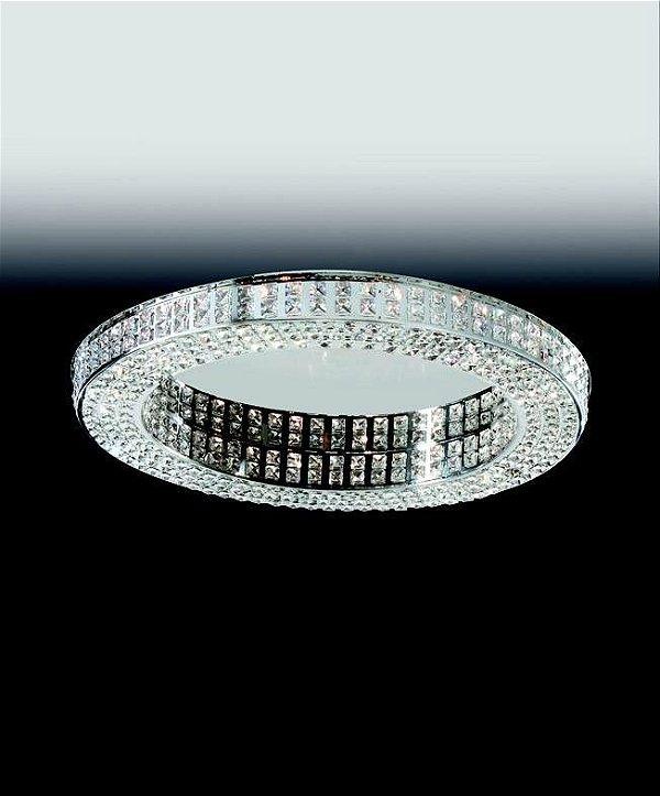 Plafon Old Artisan Aro Redondo Esfera Cristal K9 Metal 7,5x70cm 16x G9 Halopin 110 220v Bivolt PLF4823-16 Hall e Sala Estar