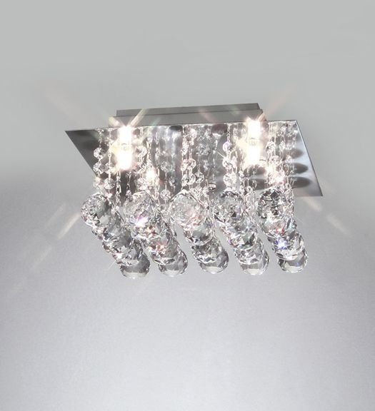 Plafon Old Artisan Cristal K9 Quadrado Metal Cromo 16x28cm 4x G9 Halopin 110 220v Bivolt PLF-4235 Entradas e Sala Estar