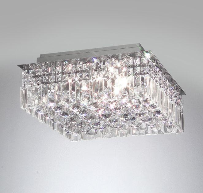 Plafon Old Artisan Cristal K9 Quadrado Sobrepor 16x38cm 8x G9 Halopin 110 220v Bivolt PLF-4260 Hall e Quartos