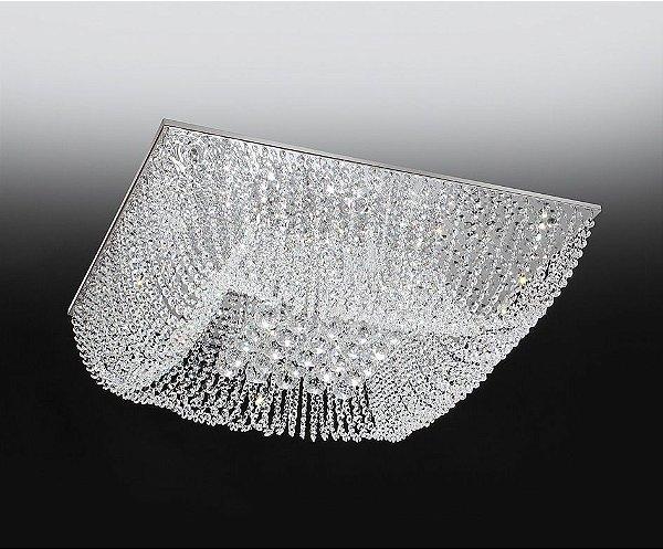 Plafon Old Artisan Cristal Sobrepor Quadrado Transparente 18x47cm 8x G9 Halopin 110 220v Bivolt PLF4533-8 Sala Estar e Quartos