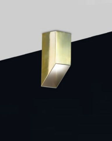 Plafon Old Artisan Minimalista Contemporâneo Linear Metal Dourado 30x7,6cm 1x PAR20 110 220v Bivolt EMB-4981 Escadas e Hall