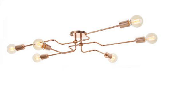 Plafon Old Artisan Hastes Curvas Horizontal Contemporâneo Metal Bronze 16x93cm 6x E27 110 220v Bivolt PLF-5169 Quartos e Hall