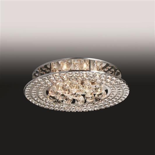 Plafon Old Artisan Metal Cristal K9 Redondo Esfera Sobrepor 12x45cm 6x G9 Halopin 110 220v Bivolt PLF4775-6 Sala Estar e Saguão