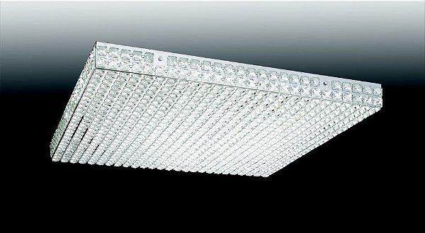 Plafon Old Artisan Quadrado Sobrepor Cristal Transparente 7x49cm 10x G9 Halopin 110 220v Bivolt PLF-4556 Hall e Sala Estar