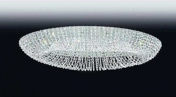 Plafon Old Artisan Redondo Esfera Cristal Transparente Sobrepor 16x85cm 10x G9 Halopin 110 220v Bivolt PLF4668-10 Sala Estar e Saguão