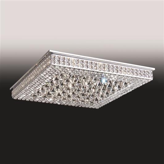 Plafon Old Artisan Sobrepor Quadrado Cristal K9 8,5x50cm 16x G9 Halopin 110 220v Bivolt PLF4815-16 Sala Estar e Hall