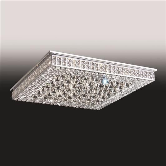 Plafon Old Artisan Sobrepor Quadrado Cristal K9 8,5x70cm 24x G9 Halopin 110 220v Bivolt PLF4815-24 Sala Estar e Hall