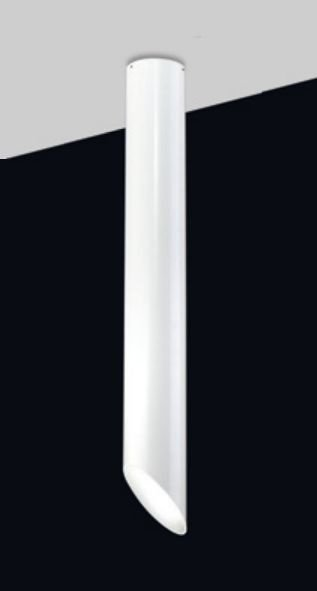 Plafon Old Artisan Tubo Branco Redondo Esfera Linear Metal 59x6,4cm 1x GU10 Dicróica EMB-4995A Escadas e Cozinhas