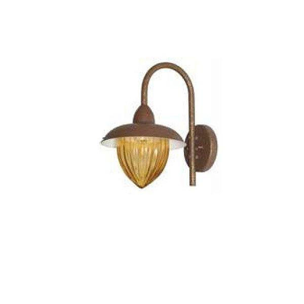 Arandela MadeLustre 2687/89 Veneza Estilo Antigo Rustico Metal de Fundição Ambar Pequena 1 Lamp. Parede Muro Banheiro Sala