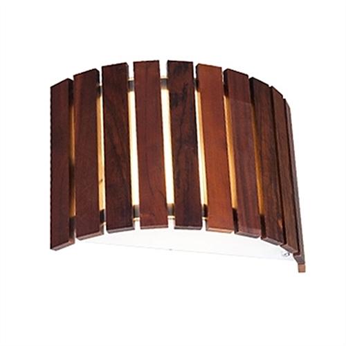 Arandela MadeLustre 2554 Castor Madeira Colonial Lustre Rustico Redondo Ø 31cm 2 Lamp. Parede Muro Banheiro Sala