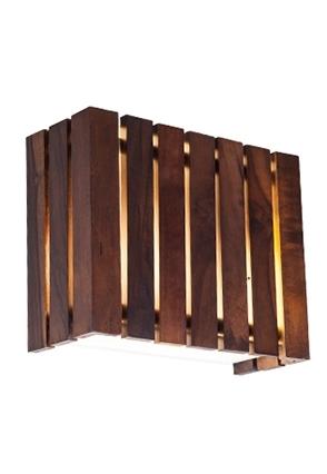 Arandela MadeLustre 2563 Castor Madeira Colonial Lustre Rustico 25 x 20 cm 2 Lamp. Parede Muro Banheiro Sala
