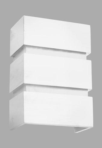 Arandela Madelustre Amb. Interno Rústica Branca Retangular Madeira Colonial Decorativa 20x35 Adhara E-27 2518-B   Parede Muro Banheiro Sala