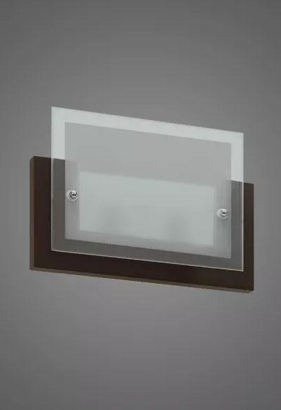 Arandela Madelustre Retangular Tabaco Vidro Fosco 27x19 Monalisa E-27 939   Parede Muro Banheiro Sala