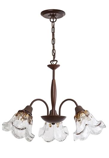 Lustre Madelustre 2593/90 Country Estilo Antigo Rustico Vidro Floral 3 Lamp. 1m Sala de Jantar Quarto e Cozinha